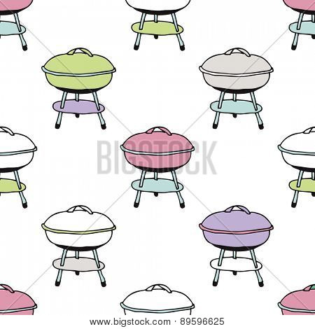 Seamless colorful fun summer BBQ food garden illustration background pattern in vector