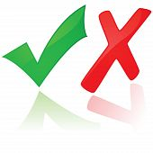 Glossy illustration showing a green check mark and a red X poster