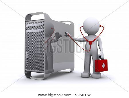 Doctor Examining A Pc