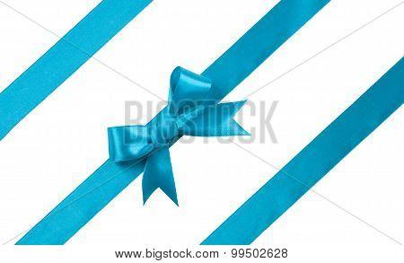 Turquoise Bow Isolated On White Background. Design Element