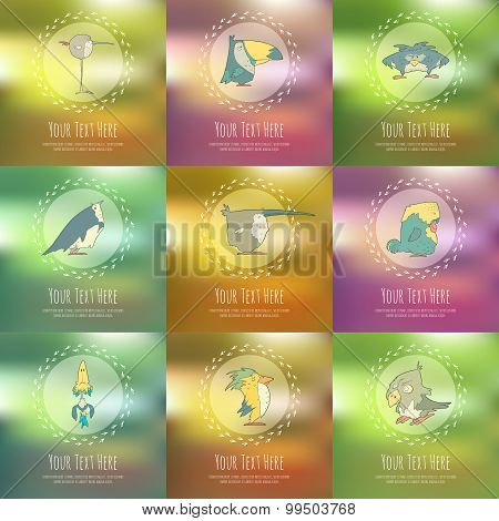 Set of hand drawn vector retro cartoon birds on blurred background.