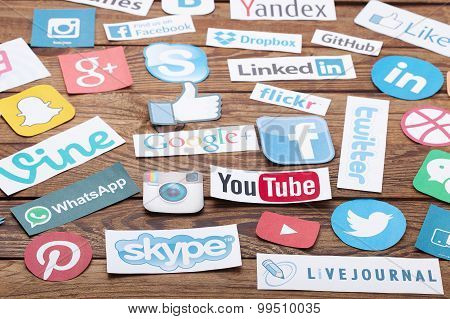 Kiev, Ukraine - August 22, 2015:collection Of Popular Social Media Logos Printed On Paper:facebook,