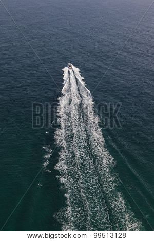 Small Motor Boat In The Middle Of The Ocean