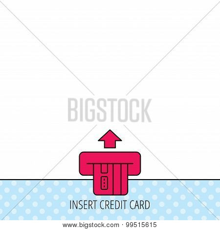 Insert credit card icon. Shopping sign. Bank ATM symbol. Circles seamless pattern. Background with red icon. Vector poster