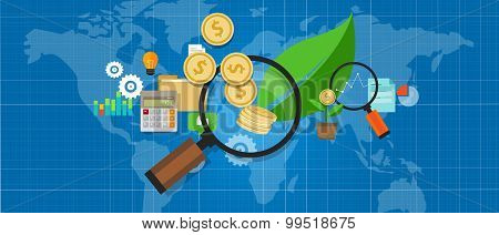 investment invest growth money magnifier  tree leaf investation