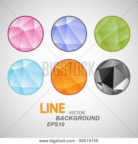 Set vector abstract circle icon. Triangle design