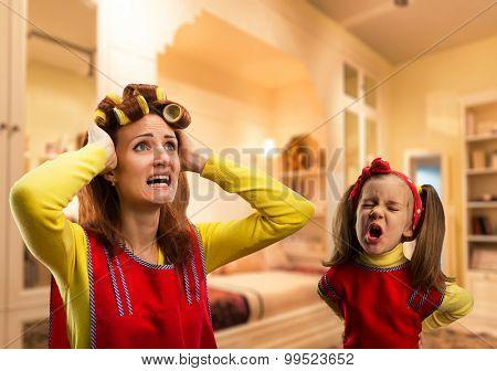 Angry little girl crying