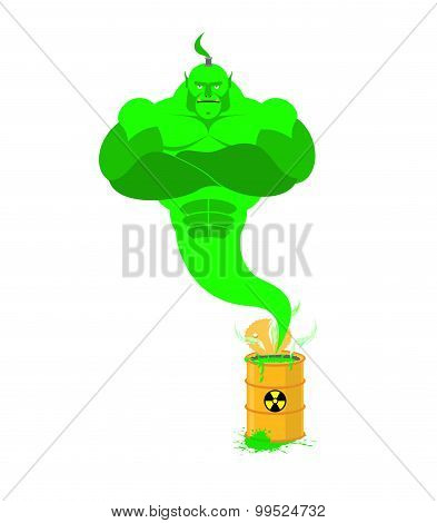 Acid Genie of barrels of toxic waste. Green Magic spirit. Vector illustration poster