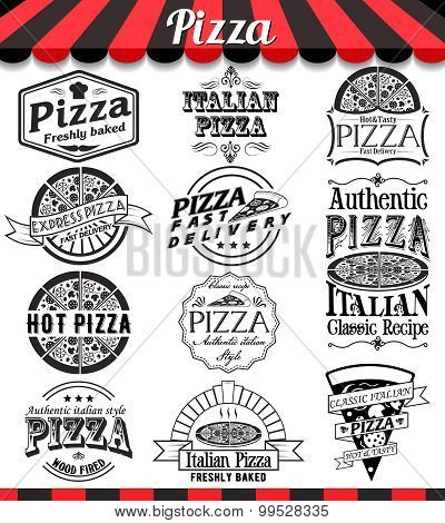 Collection Of Vector Pizza Signs, Symbols And Icons. Vector Pizza Badges Stickers And Labels Food Se