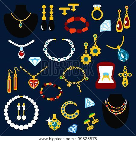 Jewelry flat icons with fashion luxury necklaces, earrings, bracelets, rings, pendants, chains and cufflinks, inlaid diamonds, pearls, emeralds, sapphires and other gems poster