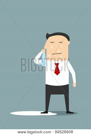 Crying businessman standing in a pool