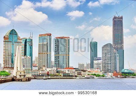 Shanghai-may 24, 2015. Skyline View From Bund Waterfront On Pudong New Area- The Business Quarter Of
