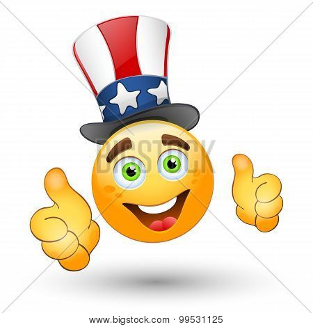 Smiling Face With Thumbs Up And Patriotic Hat. Vector