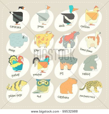 Flat design vector animals icon set. Zoo children cartoon collection.