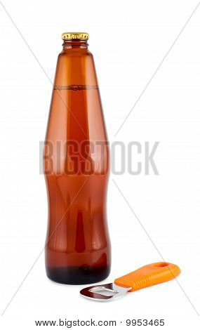 Bottle Beer, Bottle Opener, Isolated On White. Clipping Path.