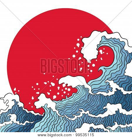 Illustration Of Ocean Waves And Sun.
