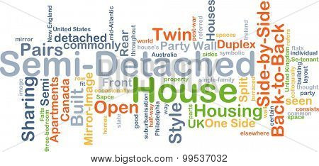 Background concept wordcloud illustration of semi-detached house