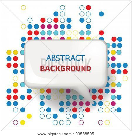 Speech bubble on abstract background with circles. Vector illustration.