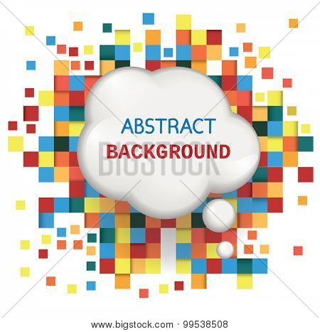 Speech bubble on abstract background with squares. Vector illustration.