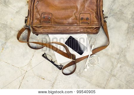 Brown Leather Handbag, Cell Phone, Diary And Glasses
