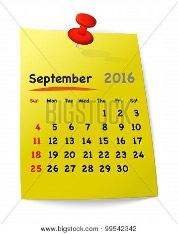 Calendar For September 2016 On Yellow Sticky Note