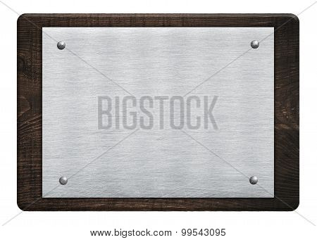 Composition of metal aluminum plaque, name plate wooden plank, board hanged on white wall