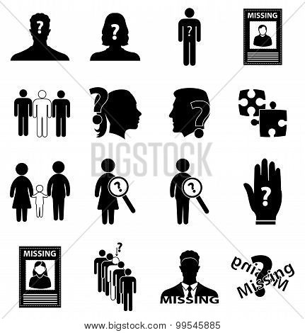 Missing person icons set