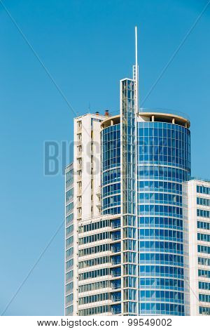 MINSK, BELARUS - May 19, 2015: Business Center Royal Plaza -Skyscraper on Pobediteley Avenue in district Nemiga Nyamiha in Minsk, Belarus poster