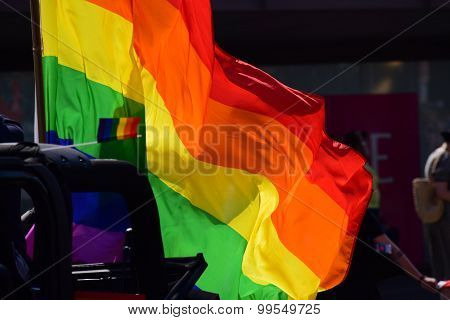 Rainbow Flag On The Pride Parade