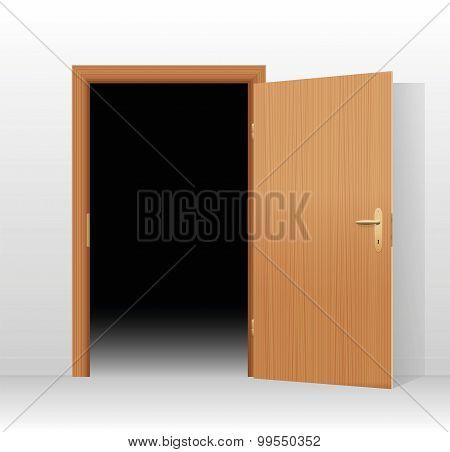 Wide open door to a dark unlit room. Vector illustration. poster