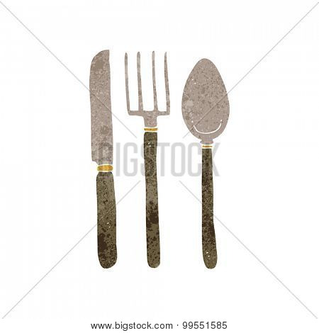 retro cartoon knife fork spoon
