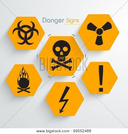 Set of various creative danger signs and symbols on gray background.