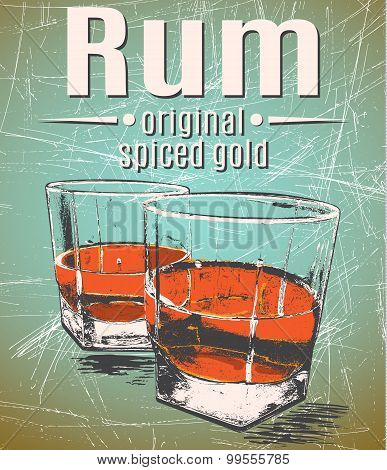 Rum in glasses on grunge background