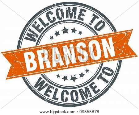 Welcome To Branson Orange Round Ribbon Stamp