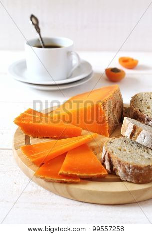 French Cheese, Bread And Cup Of Coffee