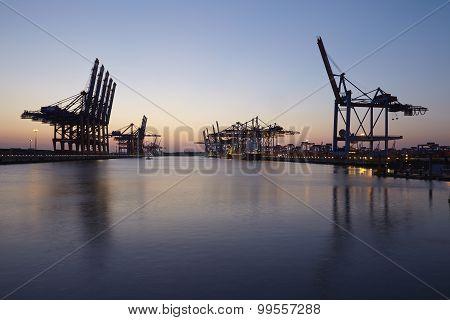 Hamburg (germany) - Deep Water Port Waltershof In The Evening