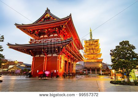 Senso-ji Temple At Asakusa Area In Tokyo, Japan