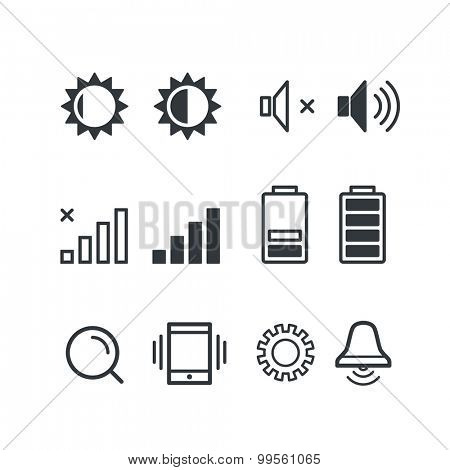 Different mobile phone notification pictograms. Isolated on white