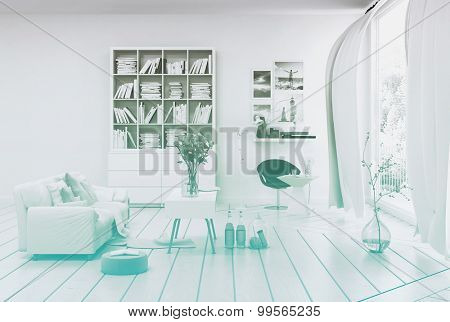 Compact modern white living room interior with white painted wooden floor and walls, a single sofa, bookcase and table in shades of white overlooking a large floor to ceiling window. 3d Rendering.