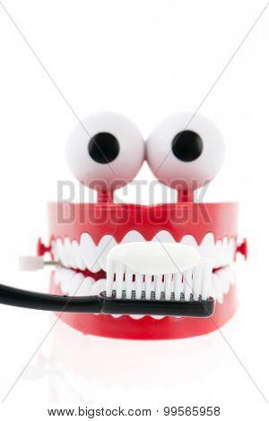 Brushing dental teeth