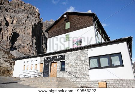 Alpine hut Refugio Auronzo at Dolomites