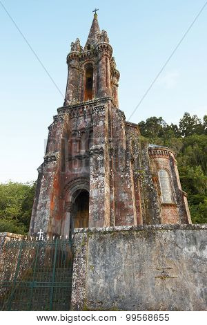 Neogothic Chapel In Furnas Lake. Sao Miguel. Portugal