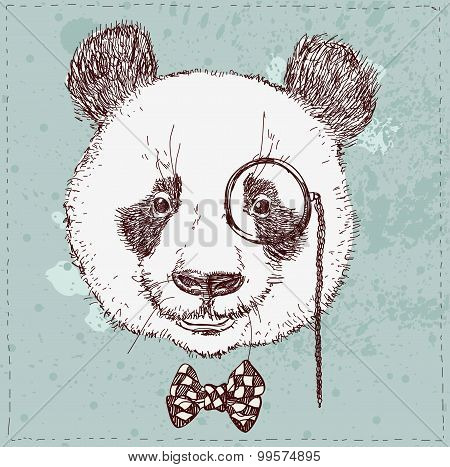 Vintage sketch  illustration of panda bear