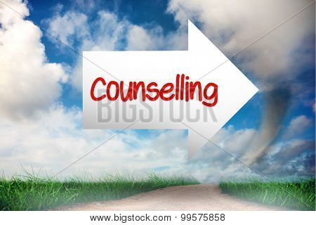 The word counselling and arrow against road leading out to the horizon
