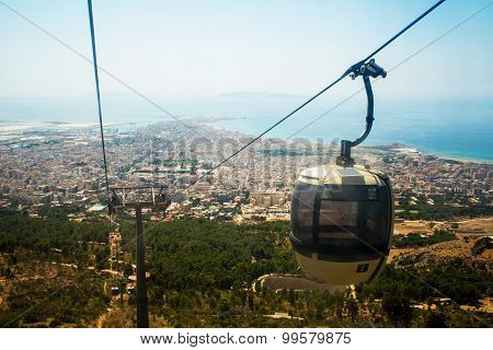 Landscape Of Trapani City From The Cableway Of Erice. Sicily, Italy.
