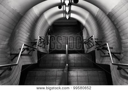 London Underground Stairs In Black And White