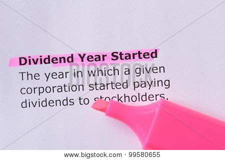 Dividend Year Started