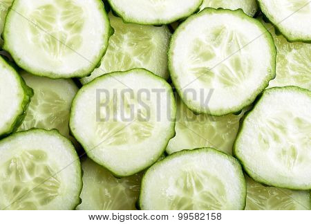 Cucumber slices as a background