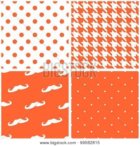 Tile vector pattern set with orange and white dots, houndstooth pattern and mustache background
