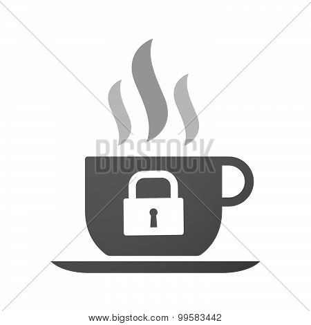 Cup Of Coffee Icon  With A Lock Pad